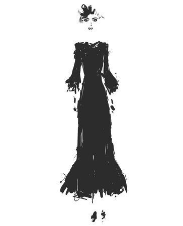 Beautiful young girl for design in a Black long dress. Fashion model sketch drawing.