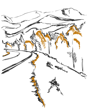 A path in the mountains sketch. Background with forest and hill
