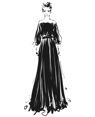 Beautiful young girl for design. Fashion model sketch drawing. Black long dress.
