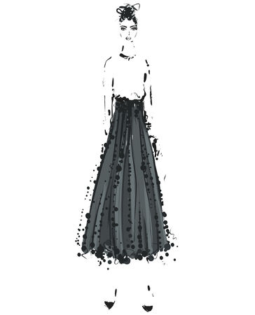 Beautiful young girl in the shirt and skirt. Fashion model sketch drawing. Ilustração