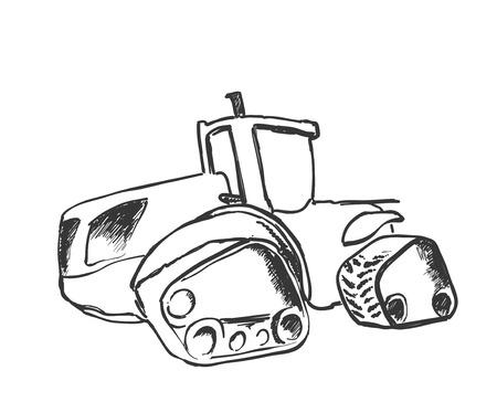 Tractor sketch. Agricultural machine. Hand drawn farmer equipment.
