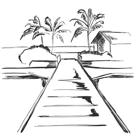 Beach resort area with traffic footpath. Landscape sketch Illustration