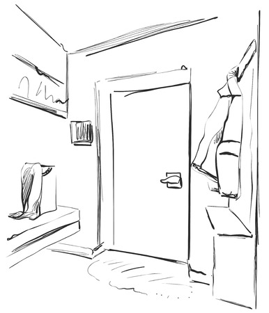 Hand drawn wardrobe sketch with clothes. Hall interior.