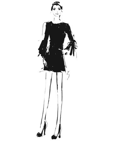 Beautiful young girl in the dress. Fashion model sketch drawing.