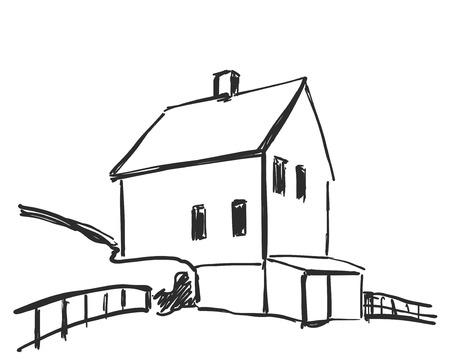 Landscape sketch. Hand drawn house
