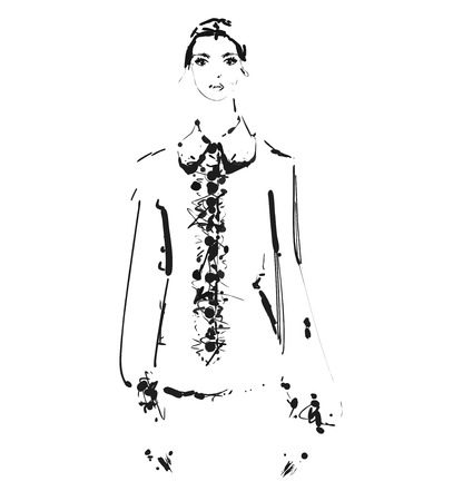 Beautiful young girl in the shirt. Fashion model sketch drawing. Ilustração