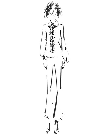 Beautiful young girl in the shirt and pants. Fashion model sketch drawing. Ilustração