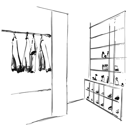 Hand drawn wardrobe sketch. Clothes on the hanger. Shoes on shelves Vector illustration. Illustration