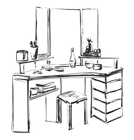 Dressing table with mirror sketch. Furniture