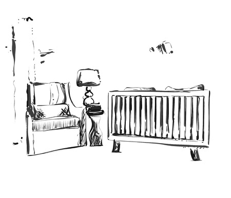 Hand drawn children room. Furniture sketch with Baby crib