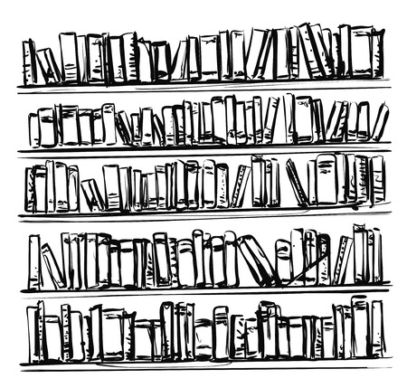 Bookshelves sketch. Hand drawn interior elements. Library Illustration