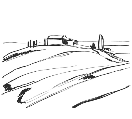 Vector image. Sketch of landscape with tree and house. Doodles