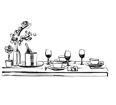 Romantic dinner with wine. Food and drink sketch. Dish in beatufull wares. Doodles