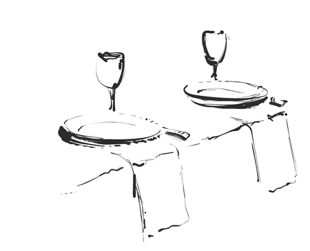Hand Drawn wares. Romantic dinner for two. Çizim