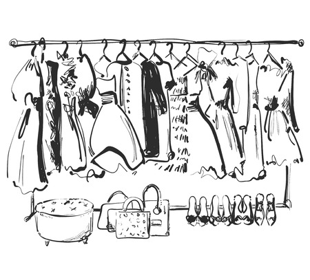 Hand drawn wardrobe sketch. Furniture. Dress, handbag and shoes