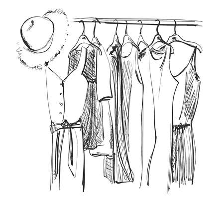 Wardrobe sketch. Clothes on the hangers. Dress and hat Çizim