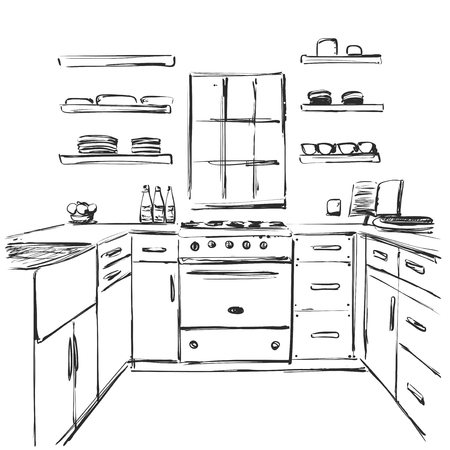 Kitchen interior drawing. Furniture sketch Illustration
