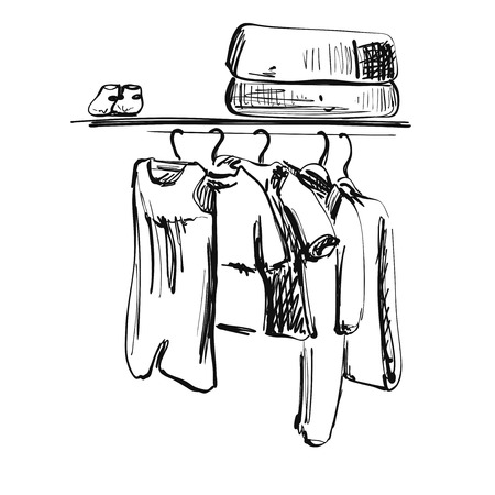 Hand drawn wardrobe sketch. Baby clothes on the hanger. Fashion