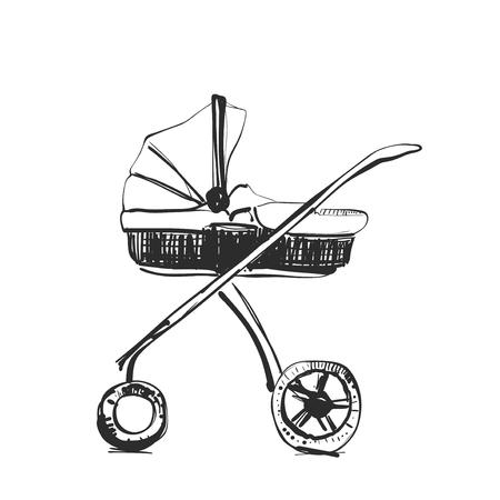 Croquis de chariot. Illustration dessinée à la main. Douche de bébé