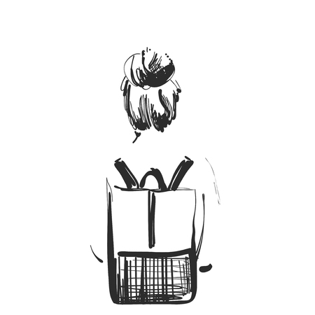 Mode-illustratie van meisje met een rugzak die weggaat. Vectorafbeeldingen. schets stijl