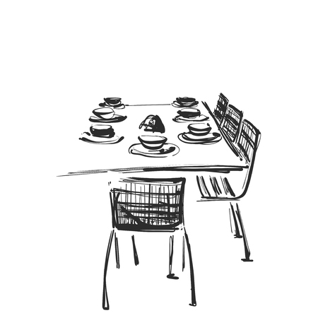 Hand Drawn wares. Dinner. Serving. Table and chairs Furniture Çizim