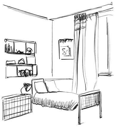 Children s room. Children s furniture. Changing table. Hand drawn vector illustration of a sketch style. Çizim