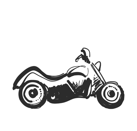 Motorcycle icon in doodle sketch lines. Sport, speed, race