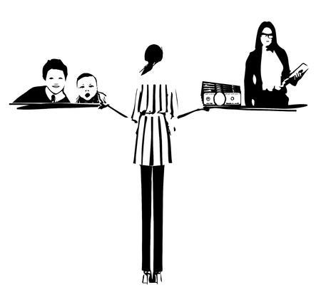 Illustration of the concept of life and work balance. Young businesswoman on the right and with baby on the left. Background is divided in two thematic patterned parts. Monochrome cketch