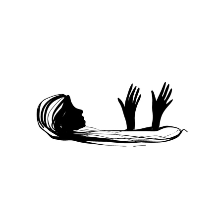 Woman need help. Person drown in problems. Stock Illustratie
