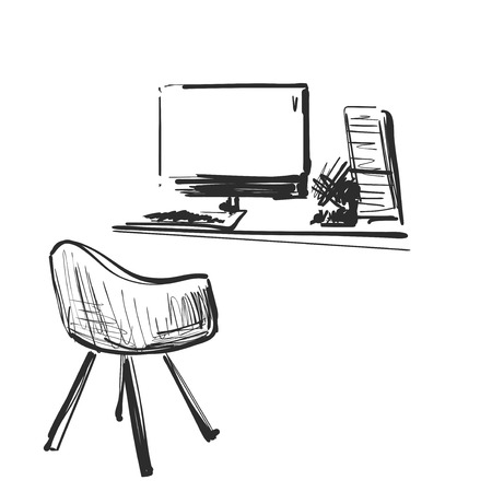 Table with a computer or workplace drawn by hand doodle style. Office furniture