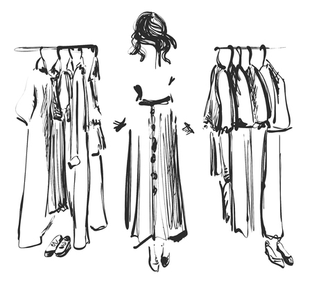 Womens shopping. The girl is trying on a new dress in the store. Wardrobe sketch. Fashion girl