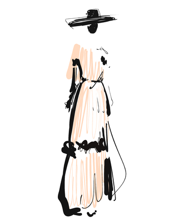 Woman in a dress and hat. Fashion models sketch. Cartoon