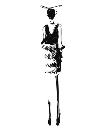 Woman in a black dress. Fashion models sketch. Cartoon