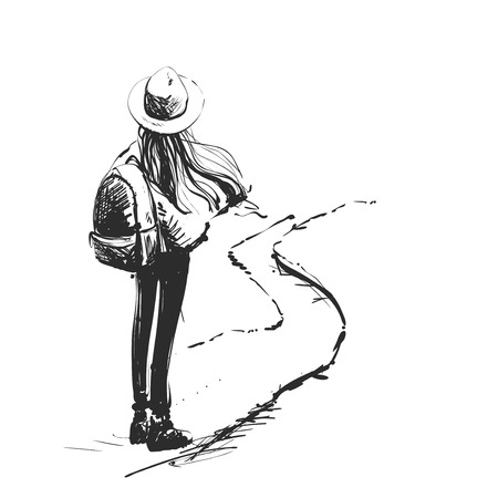 Decision, choice. A woman is standing on a large arrow that rises to the sky. Vector illustration, business concept, hand drawn sketch.