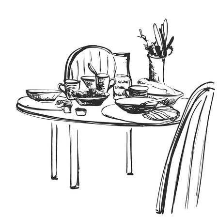 Hand Drawn wares sketch. Romantic dinner. Serving. Food and drink. Furniture