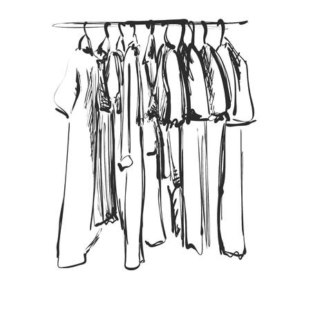 Hand gezeichnete Garderobenskizze. Kleidung gegen den Hunger. Kritzeleien