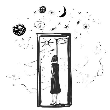 La fille ouvre la porte avec des étoiles, la raboteuse et le mois de l'autre côté, pourrait être un concept de paradis, de portail ou d'espace. Esquisser Vecteurs