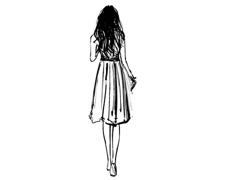 Girl walking in the dress. View from behind. Fashion sketch. Long hair