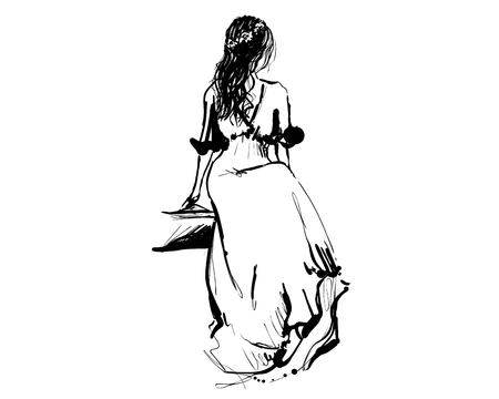 The girl is sitting in a pompous dress. Qeen sketch. Fashion