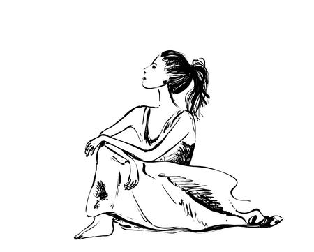 Dreaming girl sketch. Vector art drawing of beautiful young woman thinking and looking upwards. Monochrome