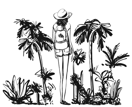 Hand drawn girl and branches, leaves of tropical plants. Black and white floral illustration. Monochrome image.