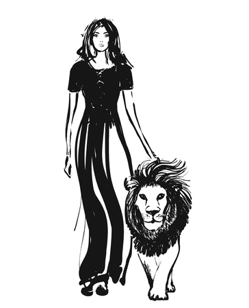 Sketch illustration. Girl walking with lion. Hand drawn. Monochrome