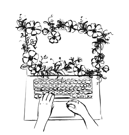 Cartoon computer screen with flowers. Frame sketch