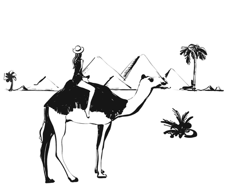 Girl on the camel. Sketch illustrations. Monochrome