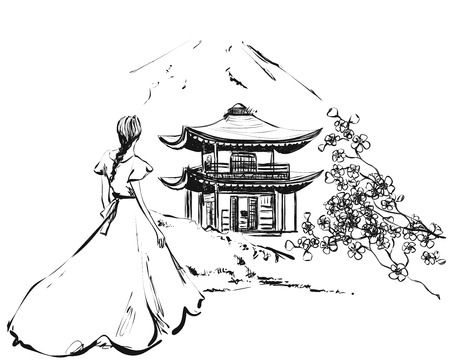 Girl with castle. Sakura. Backround with building, mountains and flowers