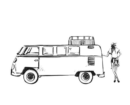 Vector illustration with the bus and young girl. The van. Travel sketch. Monochrome