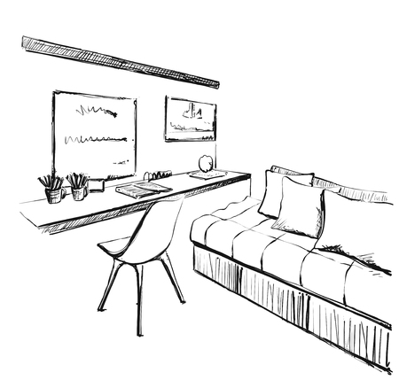 Modern interior sketch. Workplace and sofa. Chirds room