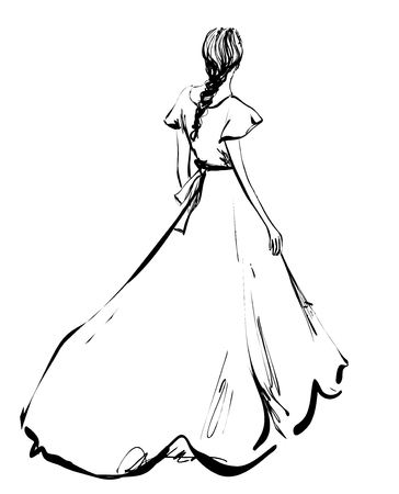 Romantic Braided Hairstyles. Girl in long dress. Sketch
