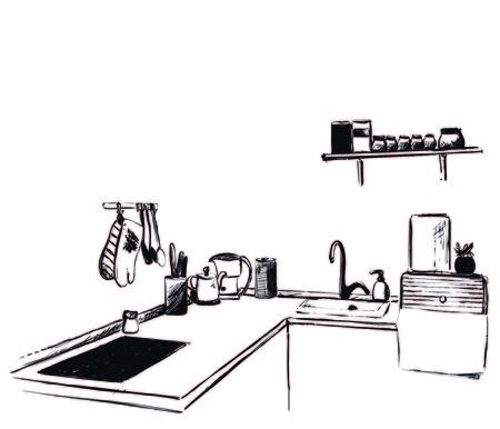 Kitchen furniture sketch. Hand drawn cupboard. Interior