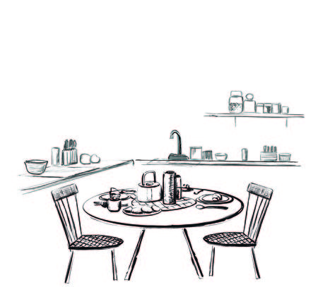 Table setting set. Weekend breakfast or dinner. Kitchen interior sketch
